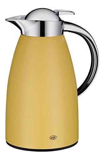 alfi Thermoskanne Signo, Metall gelb 1L, mit alfiDur Glaseinsatz, 1421.295.100, Isolierkanne hält 12 Stunden heiß, ideal als Kaffeekanne oder Teekanne, Kanne für 8 Tassen