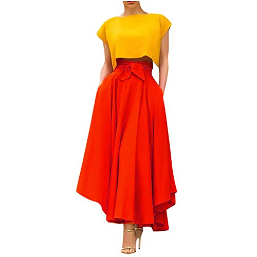 TUDUZ Falda De Cintura Alta para Mujer Faldas Largas Elegantes De Color Sólido Primavera Verano Falda Larga (Naranja, L)