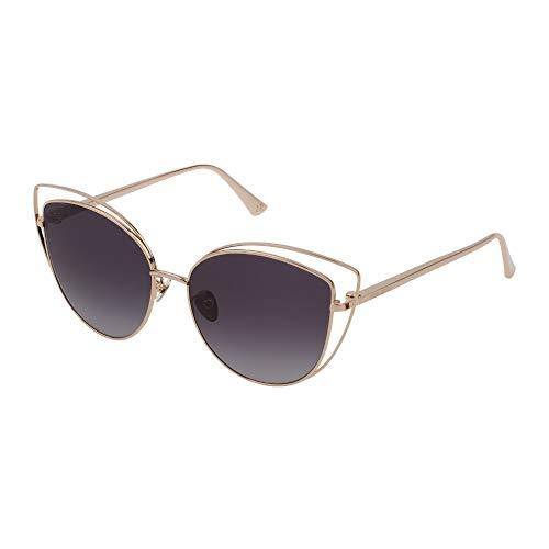 Nina Ricci SNR221 08H2 57-16-140 - Gafas de sol para mujer, oro rosa, paladio brillante, lentes ahumadas degradadas