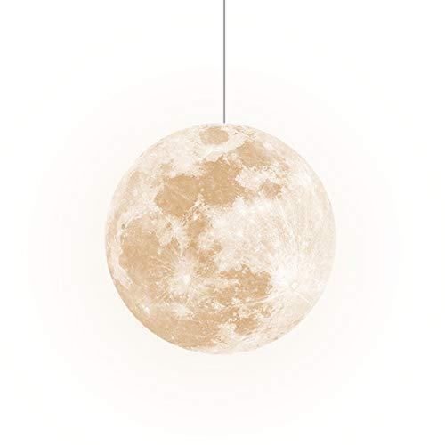 3D Drucken Mond Pendelleuchten Universum Planet Decke Nachtlampe Nordeuropa Kreativ Laterne Restaurant Bar Kinder Schlafzimmer LED Hängende Beleuchtung 3 Farben von Licht,40cm