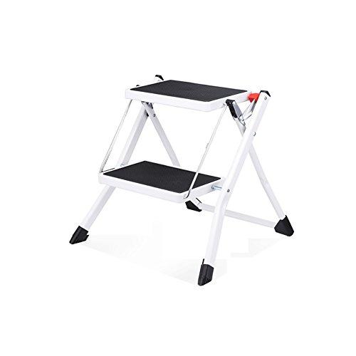 Leiter nach Hause Indoor-Minizweistufigen Kleiner Leiter Rutschfester Leiter tragbaren Klappleiter Fischgrät-Leiter Eisen Trittleiter Stabilität und Sicherheit (Color : White)