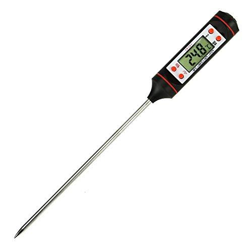 Energy01 Thermomètre Cuisson Thermomètre de Cuisine Thermometre à Viande Sonde Ultra-Longue de Lecture Instantanée avec Bouton ° C / ° F - Grill, BBQ, Steak, Bonbons, Lait, Eau Bain Patisserie