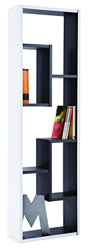 13Casa Simply D17 Libreria, Materiale Truciolare/Legno, Bianco/Nero, 36,1 x 14,7 x 120,2 cm
