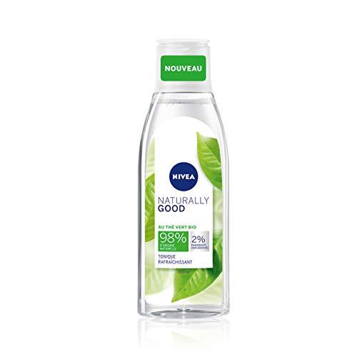 NIVEA NATURALLY GOOD Tonique Fraîcheur 200 ml, Lotion tonique enrichie en extrait de Thé Vert Bio, lotion nettoyante pour tous types de peaux