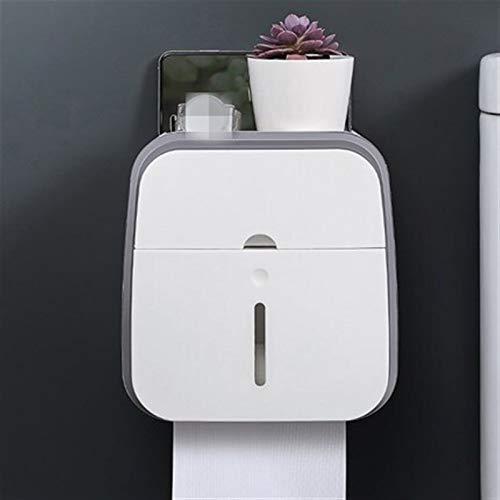 Doble capa de papel higiénico titular Impermeable No perforación montado en la pared del tejido de soporte de carga fuerte Caja Estantes Baño Producto (Color : Gray)