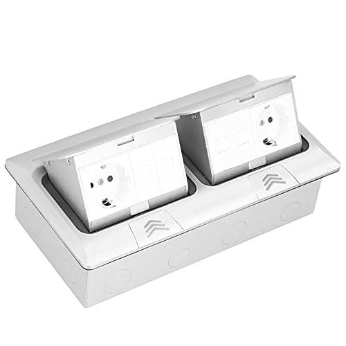 Kit de tomacorriente eléctrico de piso doble, tomacorriente de piso integrado de 250V 16A con enchufes Cubierta de caja de receptáculo Accesorios de alimentación de múltiples orificios(Bounce slowly)