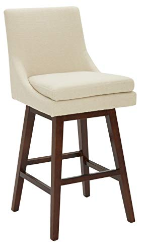 Amazon Brand – Stone & Beam Alaina Contemporary High-Back, Swivel Seat Barstool, 43'H, Beige