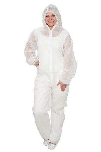 10 x Einweg-Overall Größe L - weiß - Schutzanzug aus PP - Einwegoverall - Einweganzug - Maleranzug - Marke BICAP