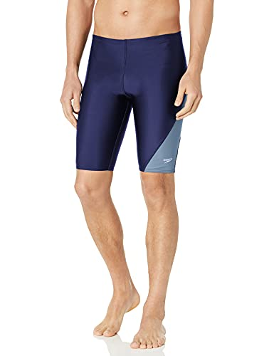 Speedo Men's Swimsuit Jammer PowerFlex Eco Revolve Splice Team Colors Speedo Navy, 26