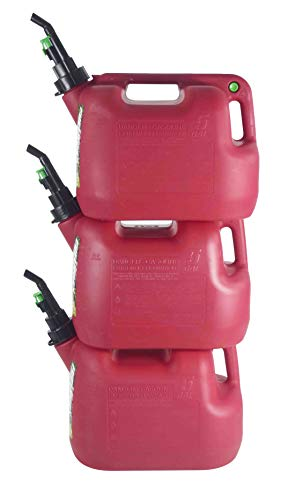 FUELWORX Red 5 Gallon Stackable Fast Pour Gas Fuel Can CARB Compliant Made in The USA (5 Gallon Gas Cans 3 Pack)