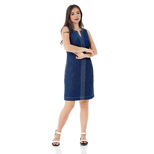 Roman Originals Women Denim Jean Dress with Pockets – Ladies Contrast Top Stitch Shift A-Line Cotton Linen Smock Casual Knee Length Sleeveless Pinafore Tunic