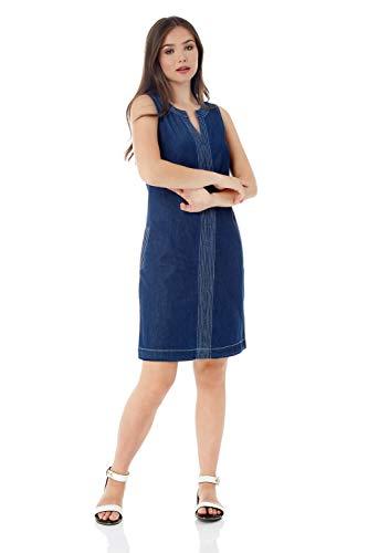 Roman Originals Vestido vaquero con bolsillos para mujer – Costura superior de contraste para mujer, línea A, algodón y lino, informal, hasta la rodilla, sin mangas