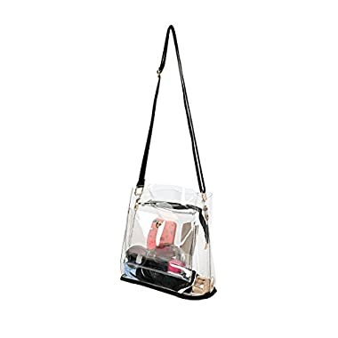Women Clear Crossbody Purse Bag - NFL,NCAA & PGA Stadium Approved Shoulder Handbag - Transparent See Through Plastic Bucket Purse 10 x10 x6