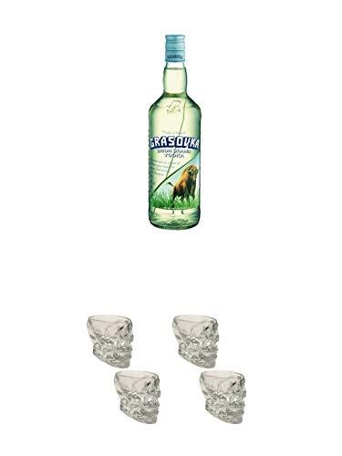 Grasovka Vodka aus Polen 1,0 Liter + Wodka Totenkopf Shotglas 2 Stück + Wodka Totenkopf Shotglas 2 Stück