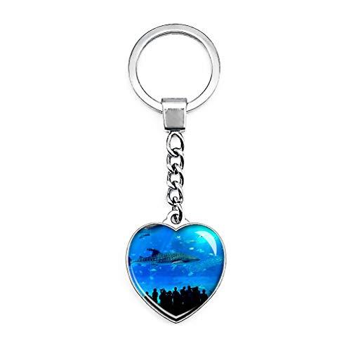 Churaumi Aquarium Okinawa Japan Schlüsselanhänger Kreativ Doppelseitiger Herzförmiger Kristall Schlüsselanhänger Reise Souvenir Metall