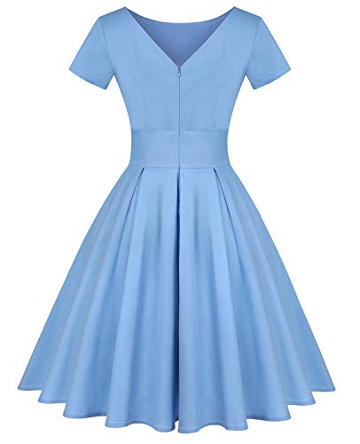 MINTLIMIT Women's Short Sleeve 1950s Retro Vintage Cocktail Swing Dresses (Solid Light Blue,Size M)