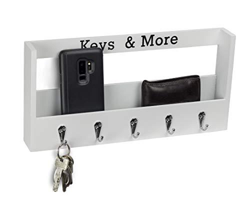 Metradex Schlüsselbrett aus Holz mit Ablage und 5 Schlüsselhaken: Schlüsselleiste Schlüsselkasten Schlüsselboard Weiß