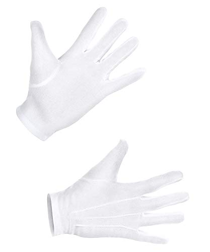 Boland 03081 - Handschuhe bis zum Handgelenk mit Knopf, XL, Weiß, für Erwachsene, Accessoire, Motto Party, Karneval