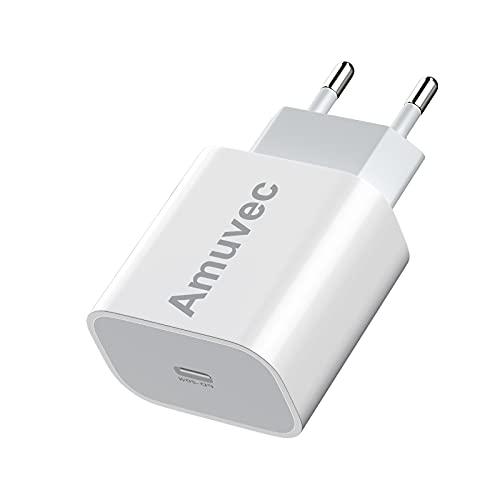 Amuvec USB C Ladegerät, 20W USB C Netzteil Schnellladegerät mit Lightening Kabel 1M, USB C Power Adapter PD 3.0 Fast Charger kompatibel für Phone 12/12 Mini/ 12 Pro/ 12 Pro Max/ 11, Galaxy, Pad Pro