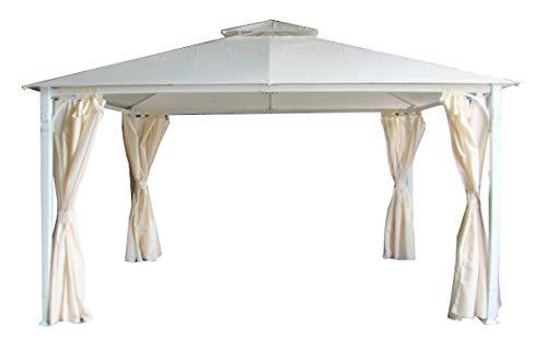Stilè Gazebo da Giardino 3x2 m in Metallo con Telo Impermeabile Poliestere Doppio Tetto Tende Laterali Bianco