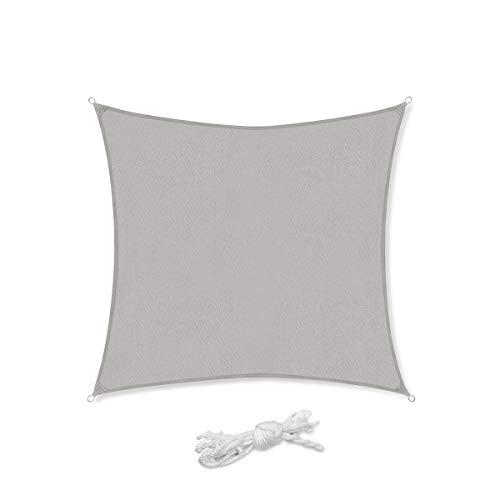 Sekey Sonnensegel Sonnenschutz Quadratisches Polyester Windschutz Wetterschutz Wasserabweisend Imprägniert UV Schutz, für Balkon Garten Outdoor, mit Seilen, Hellgrau...