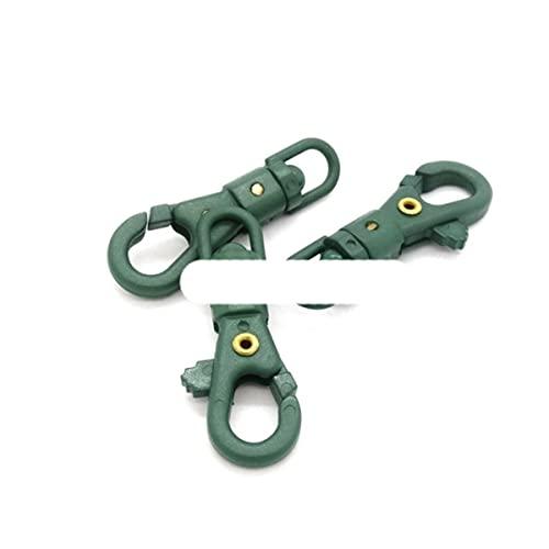 12 pz/pacco 1/4 '' Girevole A Scatto In Plastica Colorata Gancio Per Tessuto Paracord Cordino Fibbie Zaino Tessitura-Verde Militare