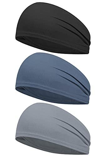 Sweat Band Sport Headband 3 Piece Stretch Hairband Cooling Headbands for...