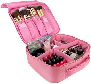 Makeup Travel Bag by UP&GLO | 3-in-1 Makeup Brush Case Bag, Fits Full-Size Brushes & Palettes, Premium Cosmetic Bags, Vegan, Ultimate Makeup Organizer Travel Bag, Adjustable Dividers, No-stick Zipper