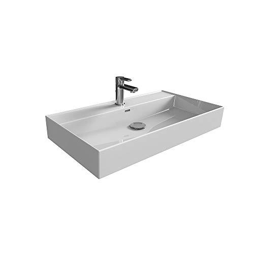 Aqua Bagno | Waschbecken 80 im modernen Loft Air Design | Eckig | Wand-Waschbecken | Möbelwaschbecken | Waschtisch aus Keramik | Weiß | 805 x 465 x 130 mm