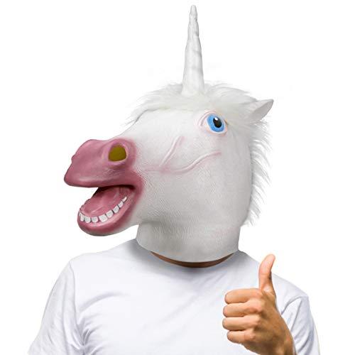 molezu Mascarilla de Cabeza de Animal, máscara de Caballo Espeluznante, máscara de látex para Disfraz de Fiesta de Halloween (Blanco)