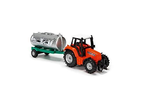 Dickie Toys 203733001 Farm Life Team - Tractor con Remolque, Juguete de Granja, Tractor de Juegos, con depósito, Remolque para Caballos o heno, 3 Modelos Diferentes, 18 cm, a Partir de 3 años