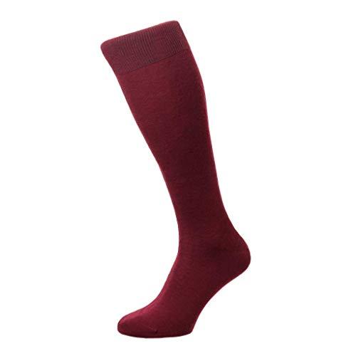Pantherella Herren-Socken Camden über der Wade aus Merinowolle, flach, gestrickt - Rot - Medium