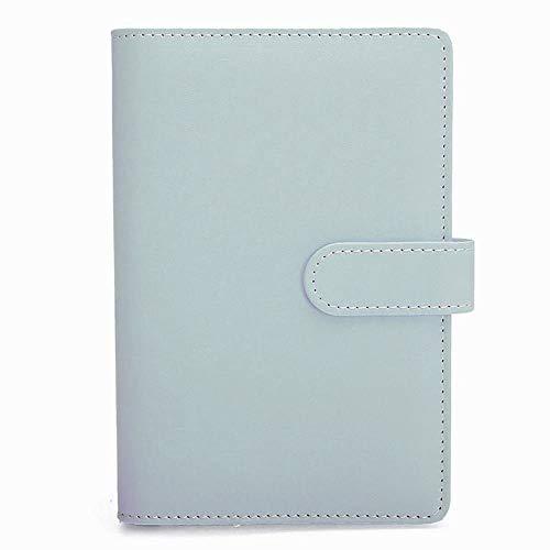 Cuaderno A5 de piel sintética, recargable, con 6 anillas, para papel de relleno, cuaderno de viaje, cubierta con compartimento para tarjetas de visita, tapa con hebilla magnética