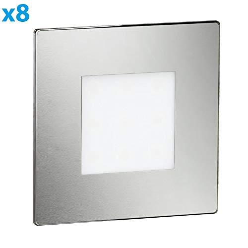 ledscom.de LED Treppen-Licht FEX Treppen-Leuchte, eckig, 8,5x8,5cm, 230V, kaltweiß, 8 Stk.