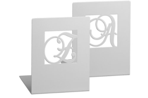 moses. Buchstützen-Set A & Z klassisch libri_x , 2er-Set Buchständer aus Metall , Zwei weiße Metall-Buchstützen im Set mit wunderschön ausgestanzten Buchstaben