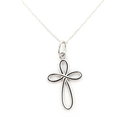 Beauniq 14k White Gold Infinity Open Cross Pendant Necklace - Pendant only