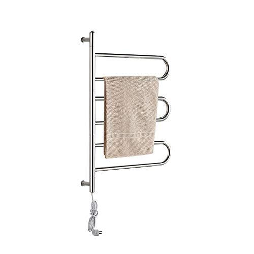 YOGANHJAT Handtuchwärmer elektrisch freistehend 3 Bar Thermostat Rostfreier Stahl Wasserdicht 80W Wäschewärmer Handtuchhalter Tragbar Wäscheständer zum Aufstellen Aufhängen,Silber,Plugin