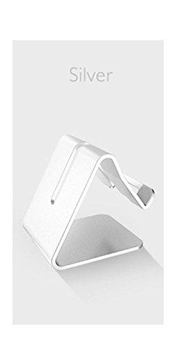 LYLFF®Solid Aluminium Metalen Desktop Stand voor Mobiele Telefoon Tablet PCmobile telefoonhouder voor bed Flat bracket Meerdere kleuren om uit te kiezen, ZILVER