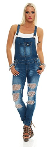 Fashion4Young 11033 Damen Latzhose Jeans Röhrenjeans mit Hosenträgern Overall Latzjeans (XS=34, blau)