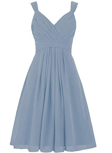 Dusty Blue Short Bridesmaid Dresses V Neck Pleated A Line Corset Back Wedding Party Dress