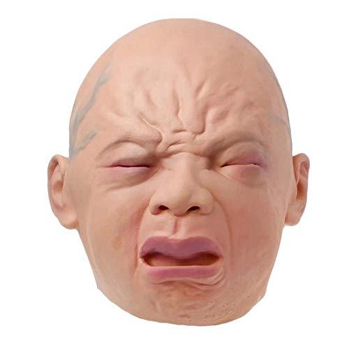 lingzhuo-shop Realistische Weinen Babymaske Voller Kopf Weinen Gesichtsmaske Haube Halloween Bar Haunted House Horror Maske Persönlichkeit Einzigartig Für Kinder Erwachsene