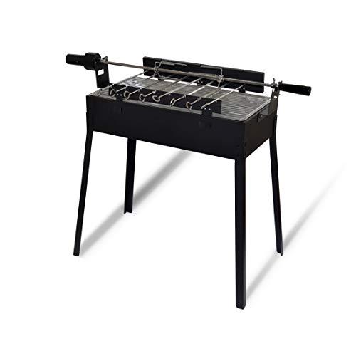 Meateor Zoomyo Mangal Grill zum Zubereiten von Grillspießen, zusätzlich mit Rotisserie-Grill für ganzes Hähnchen, 3-in-1-Grill: Holzkohlegrill, Fleischspießgrill und Rotisserie-Grill, schwarz