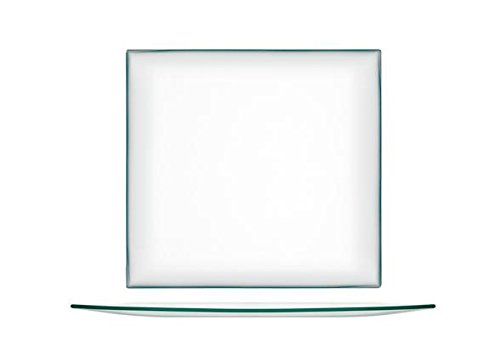 H&H Assiette Carrée, Transparent, Verre, 25 cm, vendu par Pièce