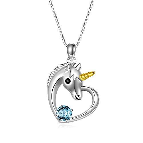 Sterling Silber Einhorn Anhänger Kette mit Kristallen von Swarovski Einhorn Schmuck Geschenke für Mädchen Frauen (Blau)