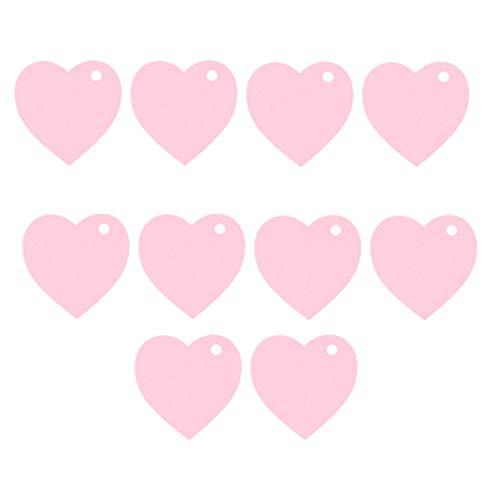 jojofuny 100 Stück Rosa Kraftpapier Geschenkanhänger Herzformanhänger Wunschnachrichtenkarte Geschenkanhänger Gepäckanhänger Namensschilder für Valentinstaghochzeitsverpackungsbeschriftung