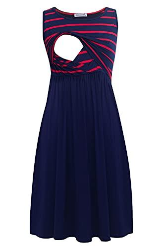 Smallshow Vestido de maternidad sin mangas con bolsillos para mujer, Vino Marino Raya-azul marino, M