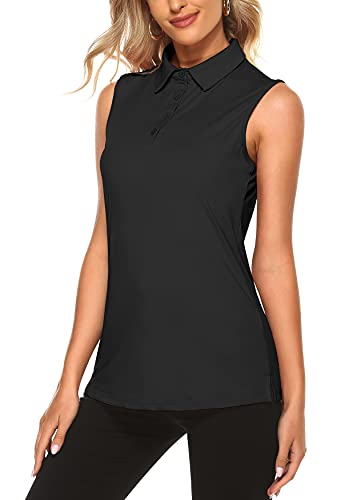 KORALHY Women Golf Shirts, Women's Quick Dry Polo Shirt 4-Button V-Neck Solid Sleeveless Petite Tennis Tank Tops for Run Badminton Daily Casual Wear Black Small