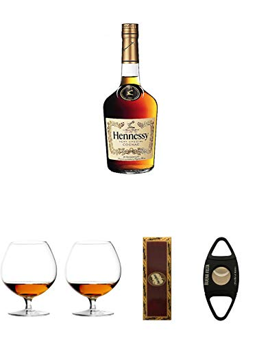 Hennessy VS Cognac Frankreich 0,7 Liter + Cognacglas/Schwenker Stölzle 1 Stück - 103/18 + Cognacglas/Schwenker Stölzle 1 Stück - 103/18 + BrickHouse Streichhölzer + Buena Vista Zigarrencutter