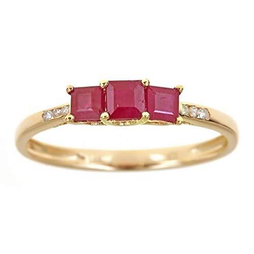 Gin & Grace Oro blanco 14K genuino corte princesa diamante Rubí (I1, I2) Proponer la promesa de compromiso anillo para las mujeres