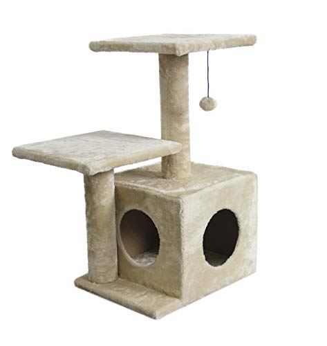 AmazonBasics Dual Post Indoor Cat Tree Tower With Cave - 23 x 18 x 29 Inches, Beige
